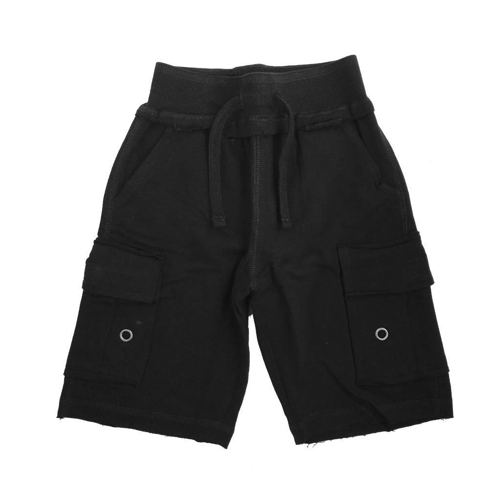 Mish Solid Black Cargo Shorts