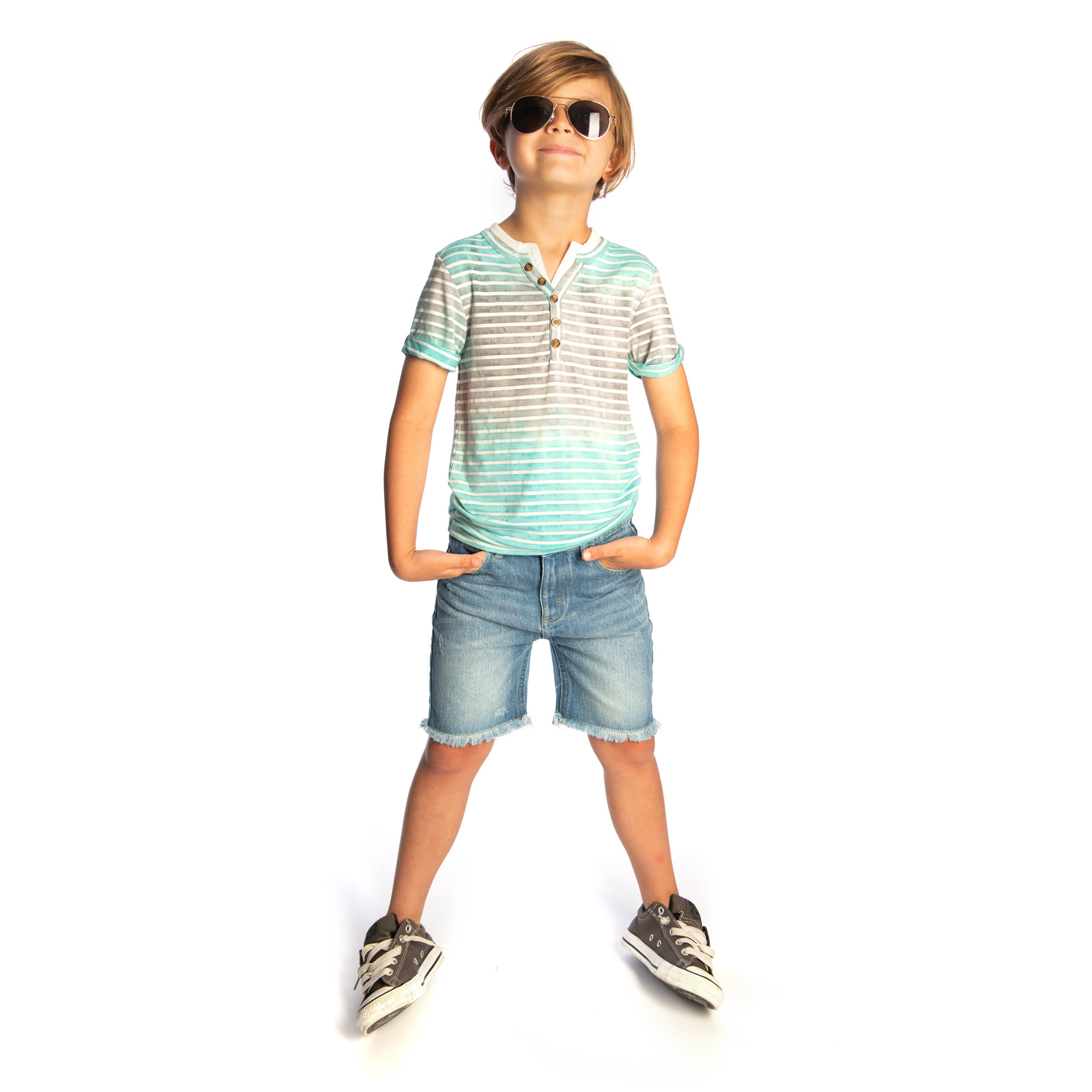 Appaman Turquoise Striped Henley