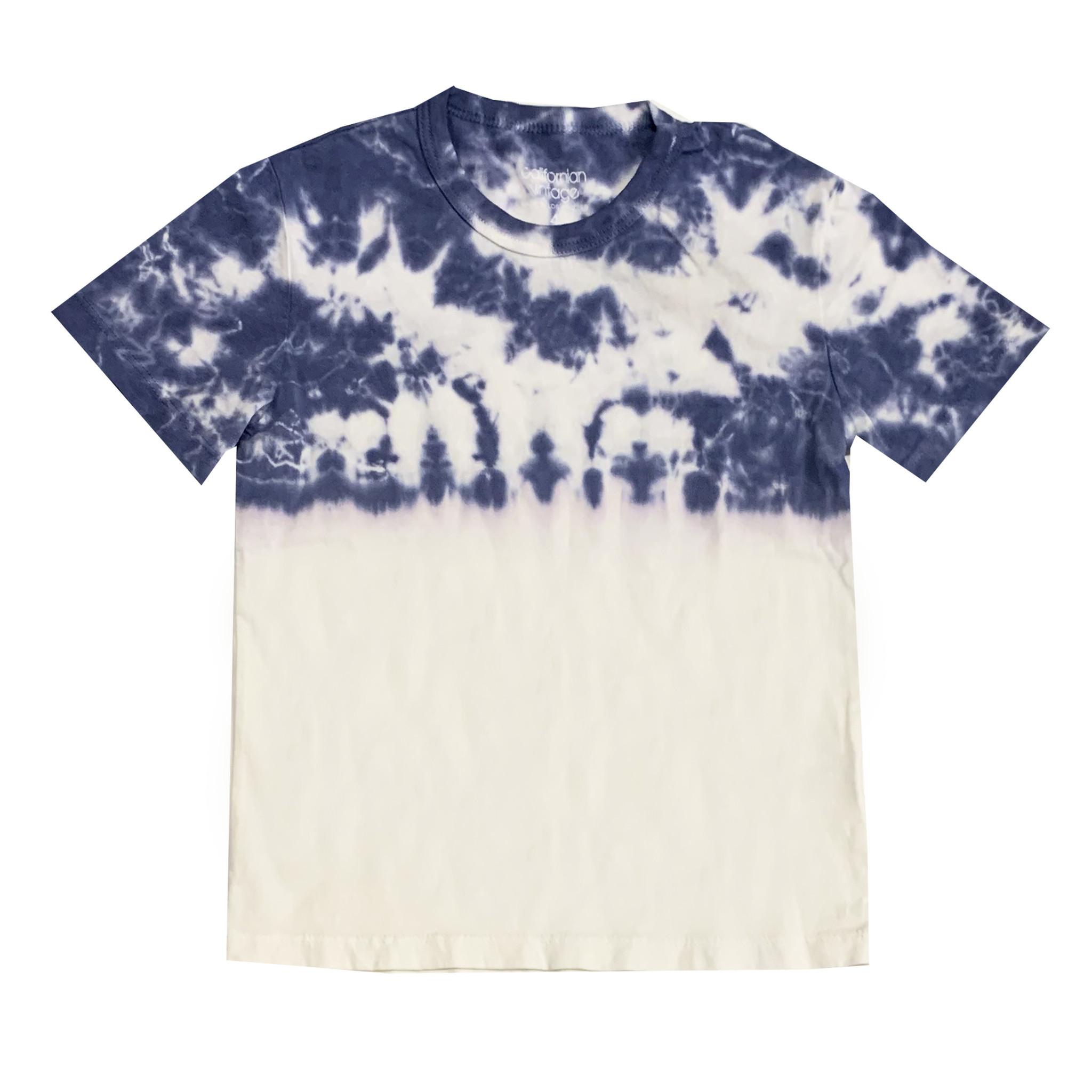 Californian Vintage Blue & White Half Tie Dye Tee