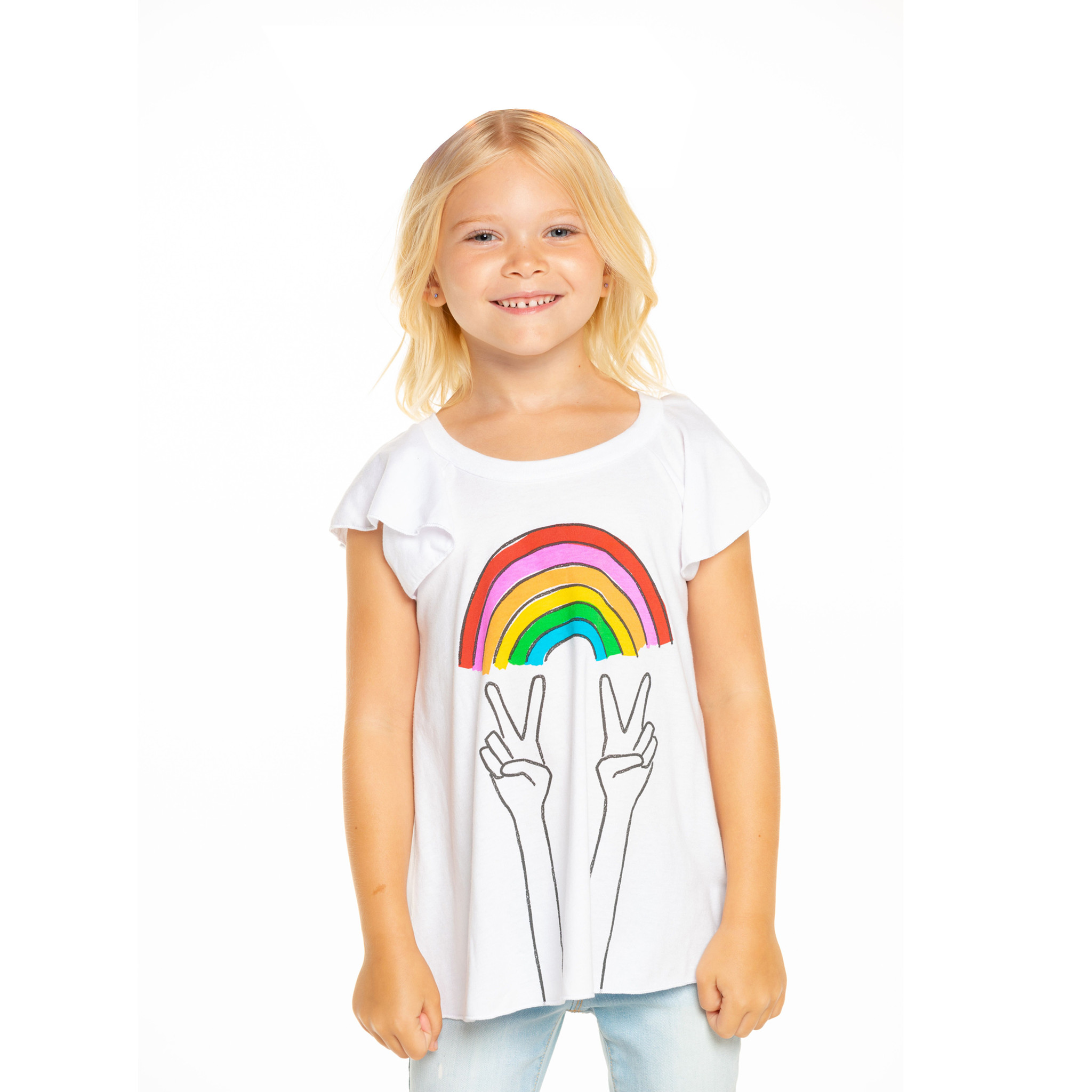 Chaser Rainbow Peace Hands Flutter Tee