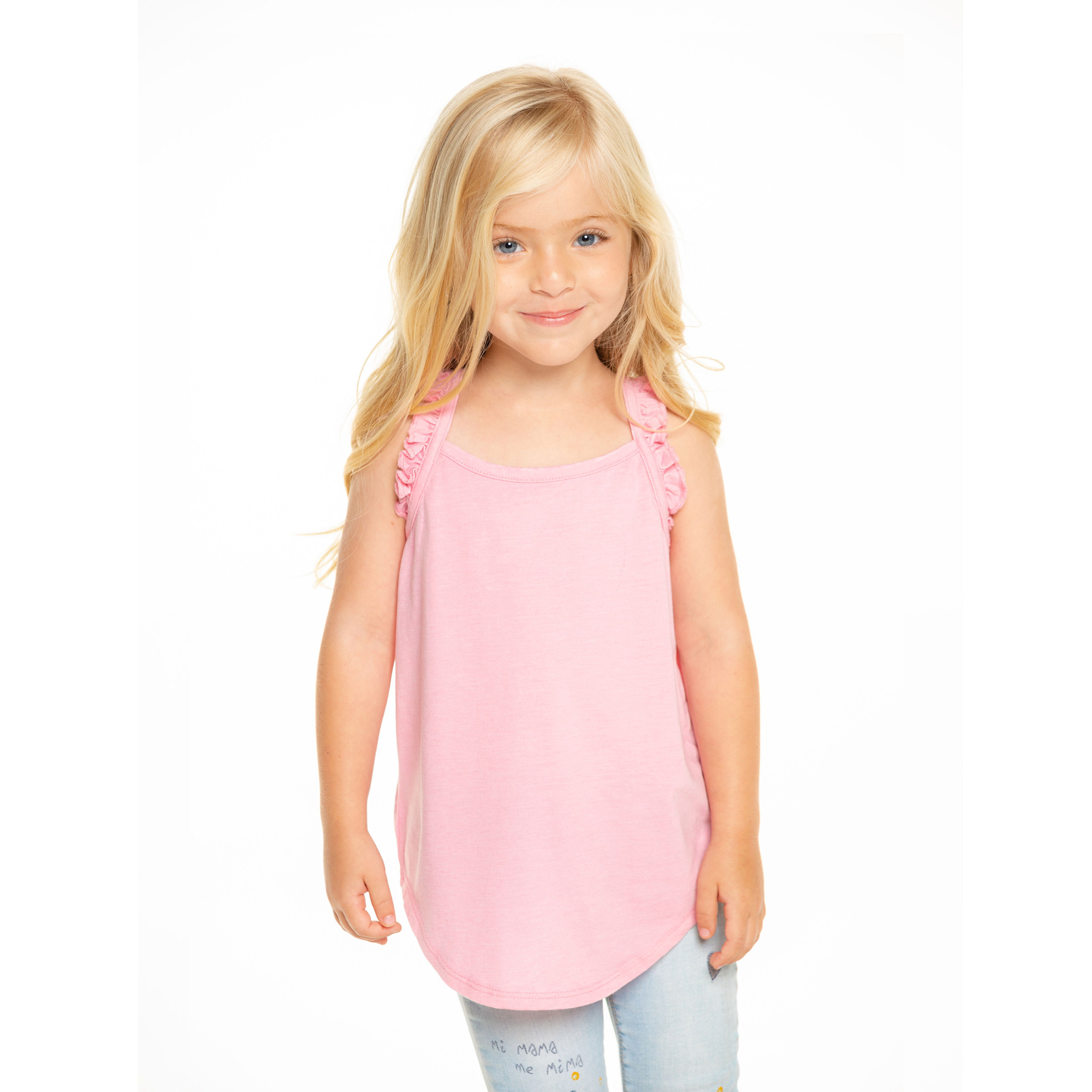 Chaser Pink Ruffle Strap Tank