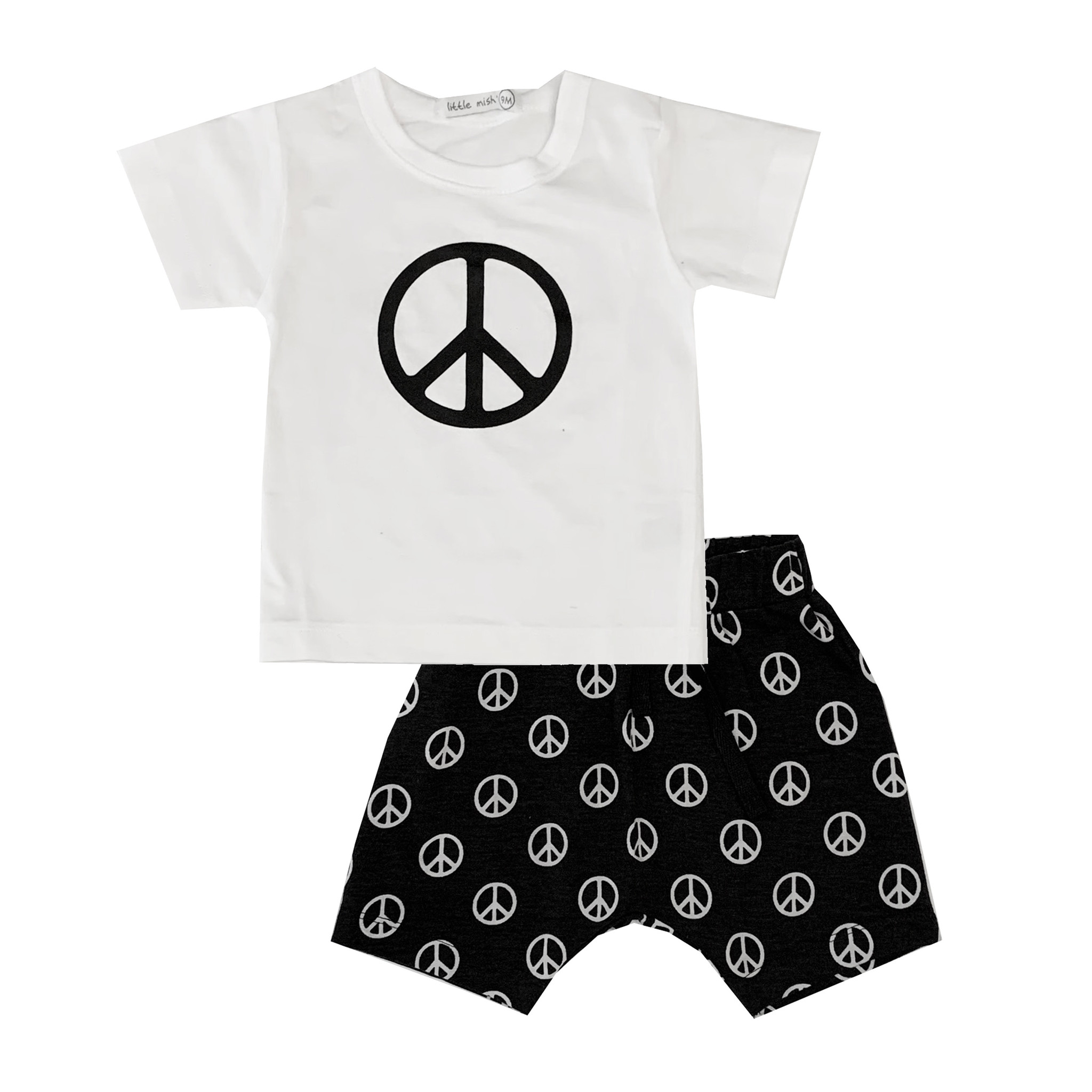 Little Mish Black Peace Short Set