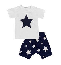 Little Mish Navy White Star Short Set