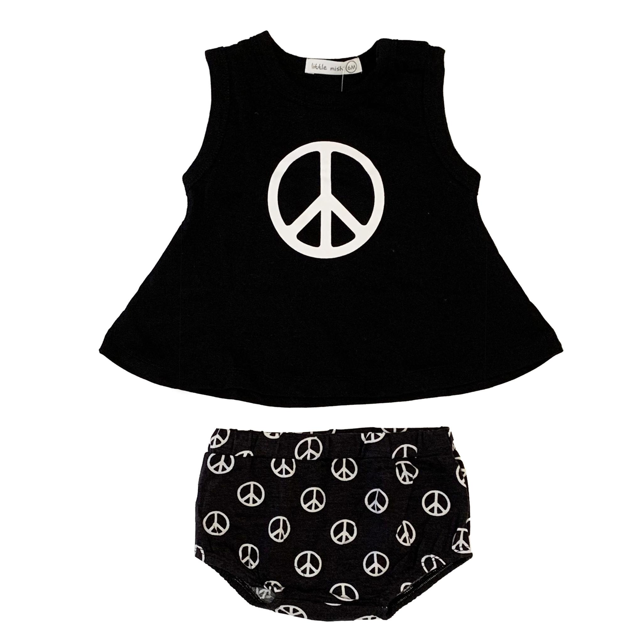 Little Mish Black Peace Swing Diaper Set