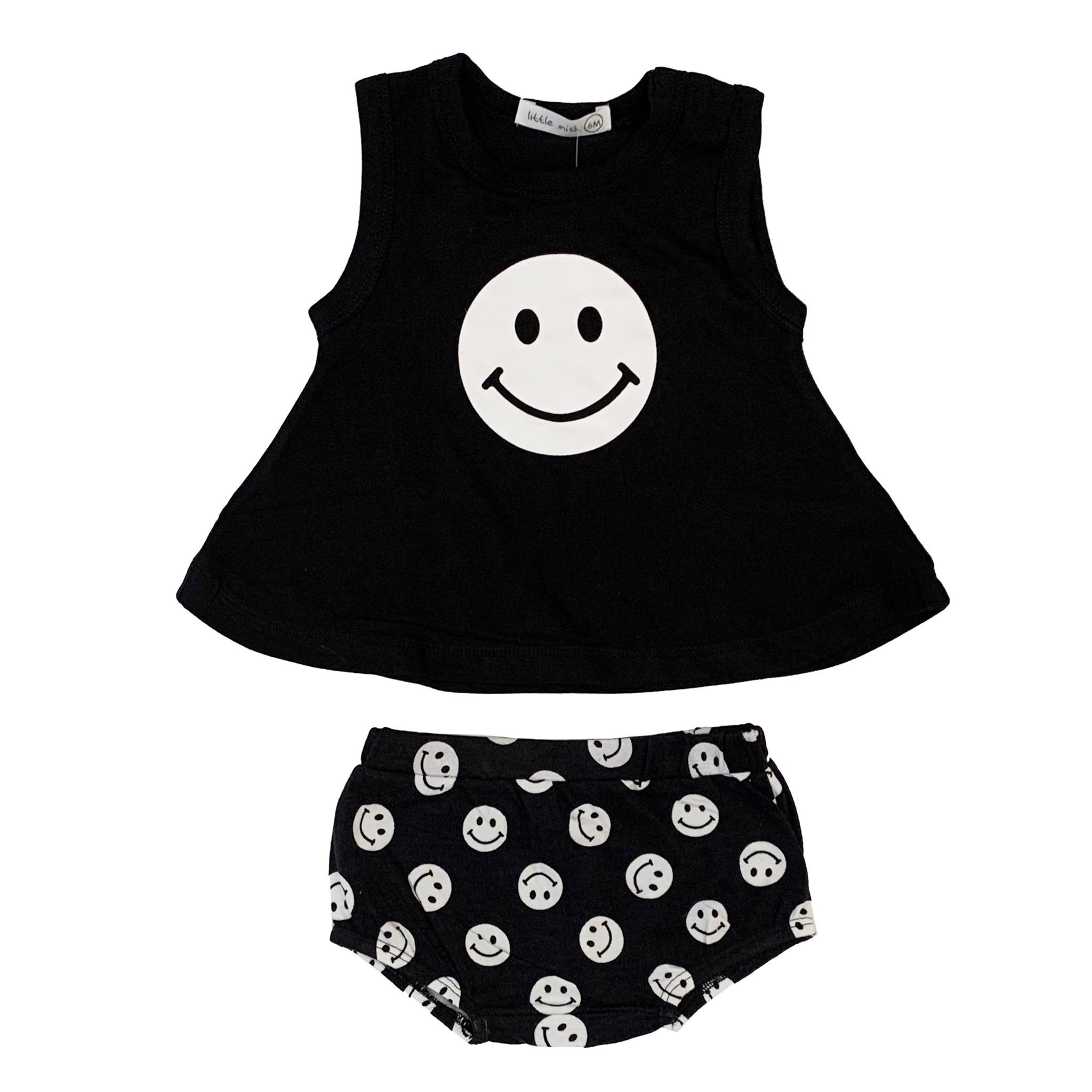 Little Mish Black Smiley Swing Diaper Set