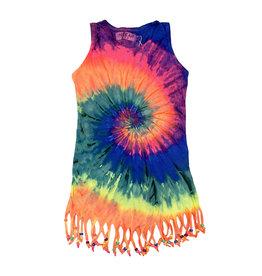 Ingear Rainbow Tie Dye Fringe Coverup
