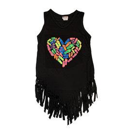 Ingear Black Flip Flop Heart Fringe Coverup