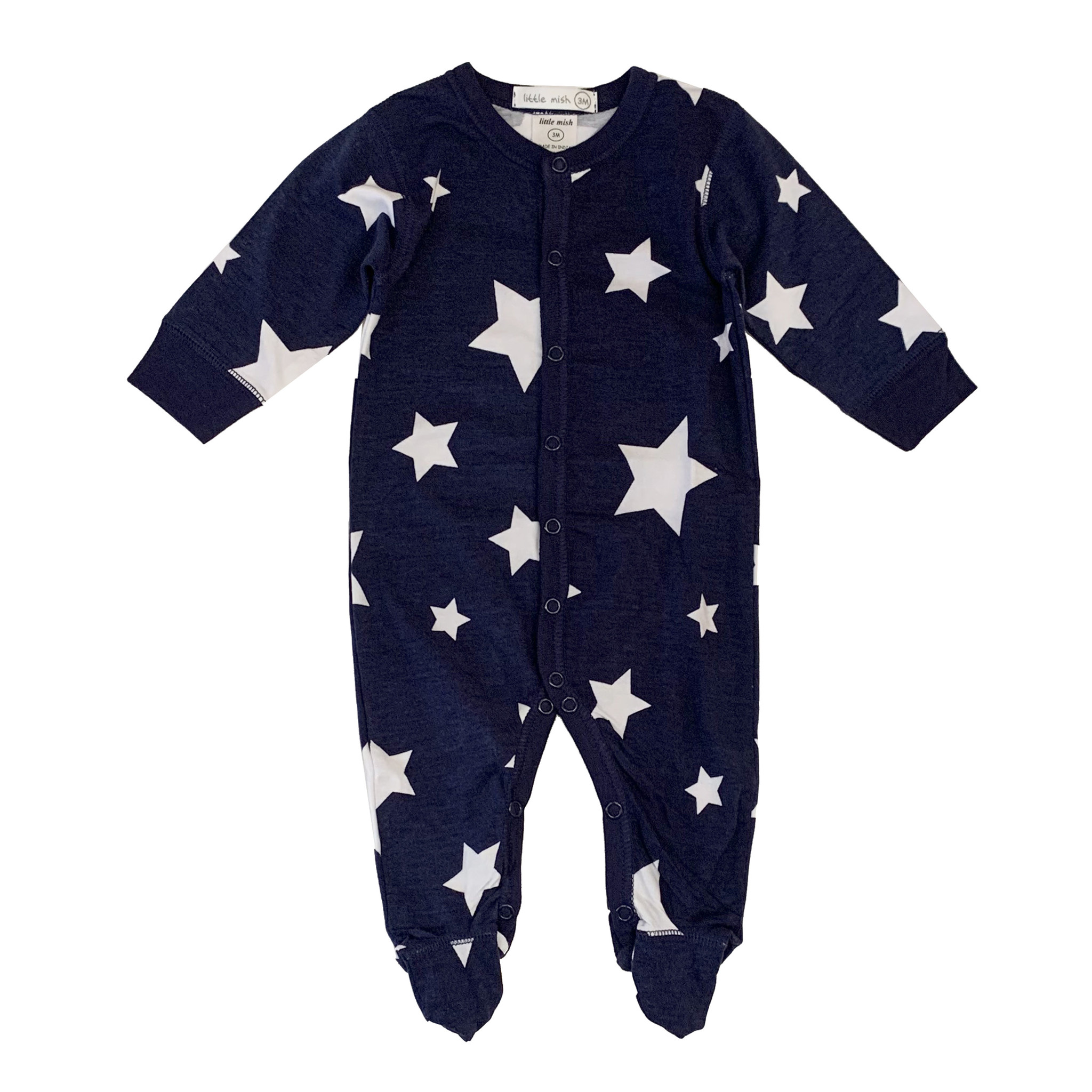 Little Mish Navy White Star Footie
