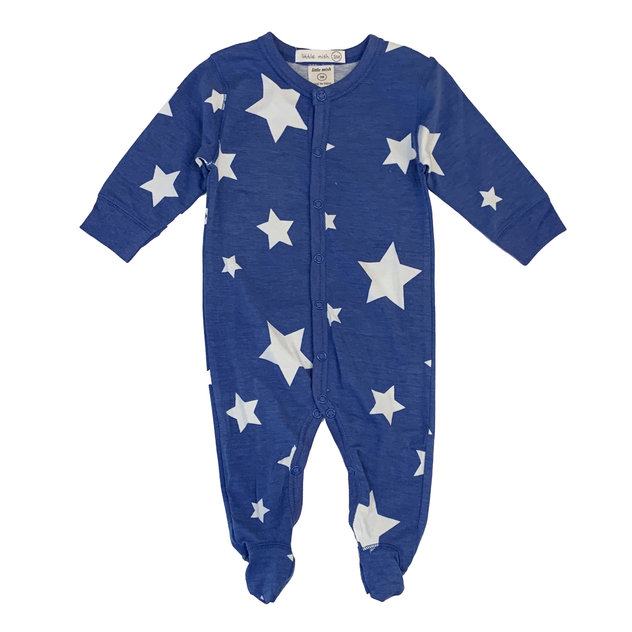 Little Mish Cobalt White Star Footie