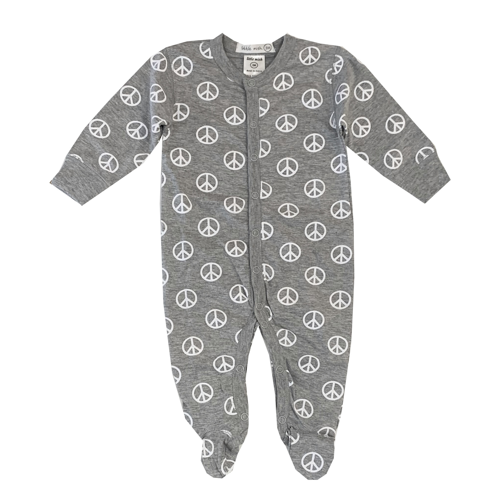 Little Mish Grey Peace Footie