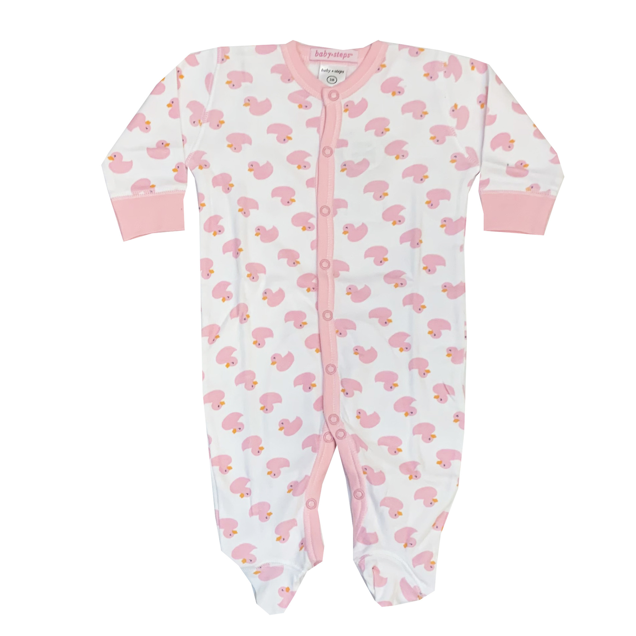Baby Steps Pink Ducks Footie