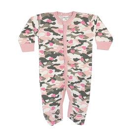 Baby Steps Pink Camo Heart Footie