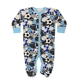 Baby Steps Blue Sports Print Footie