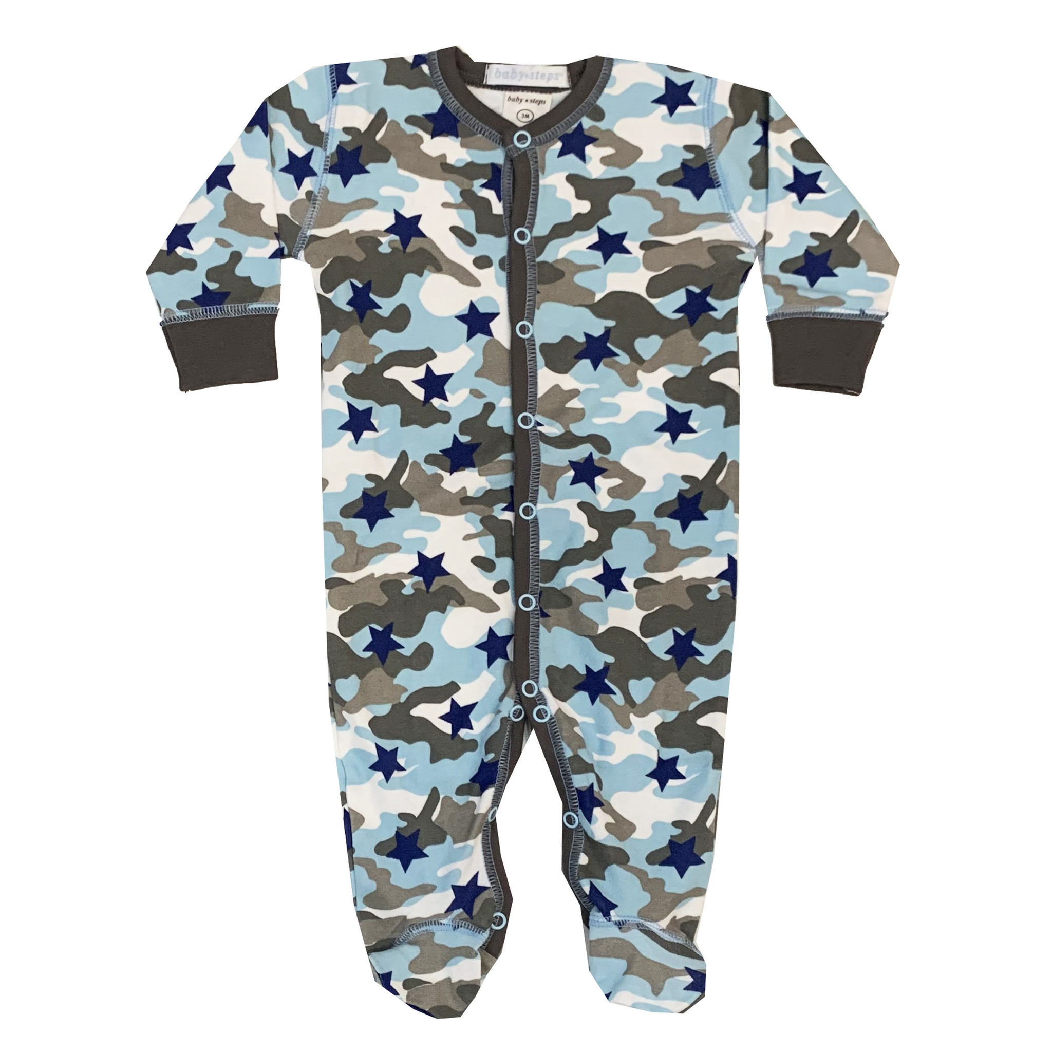 Baby Steps Blue Camo Star Footie