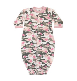 Baby Steps Pink Camo Heart Gown NB