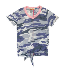 Vintage Havana Blue Camo Knot Tee with Pink Ringer