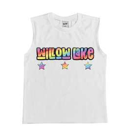 White Rainbow Letters Custom Camp Tank