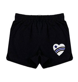 Blue Glitter Camp Love Heart Camp Shorts