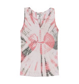 Flowers By Zoe Pink Tie Dye Ribbed Notch Tank