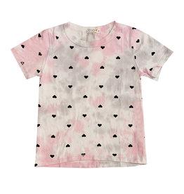 Cozii Pink & Grey Tie Dye Heart Print Tee