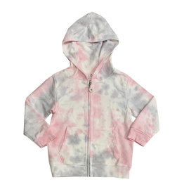 Cozii Pink & Grey Tie Dye Zip Hoodie