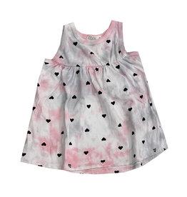 Cozii Pink & Grey Tie Dye Heart Print Swing Top