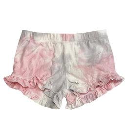 Cozii Pink & Grey Tie Dye Ruffle Shorts