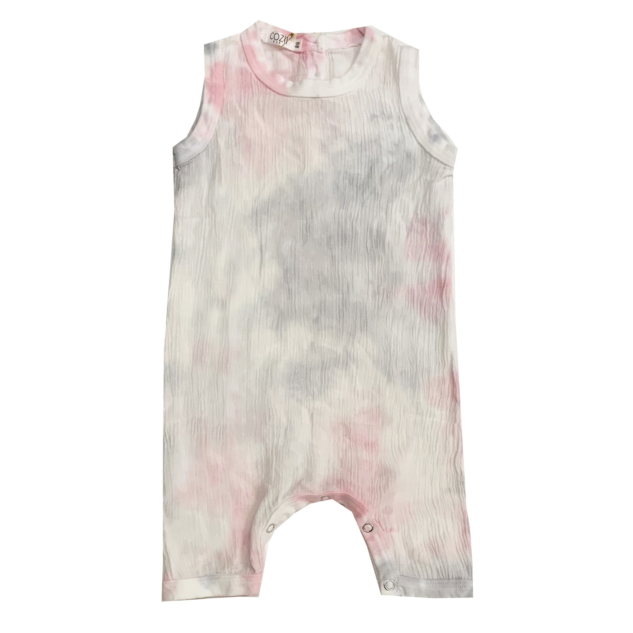 Cozii Pink & Grey Tie Dye Sleeveless Coverall