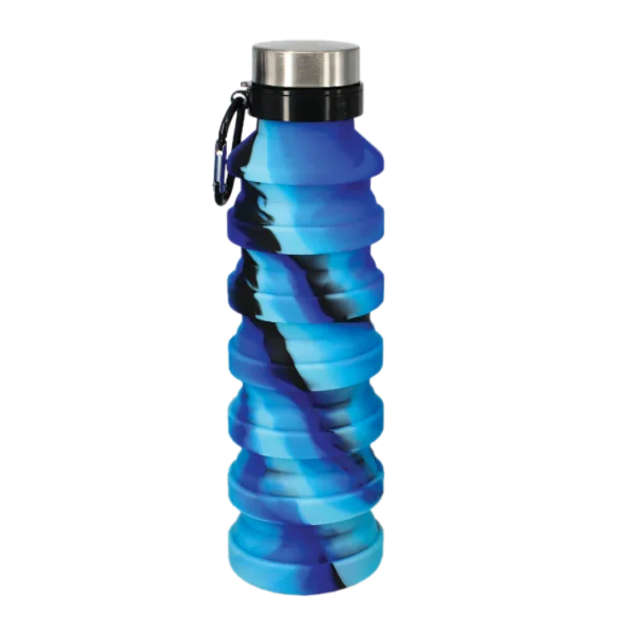 Blue & Black Silicone Collapsible Water Bottle