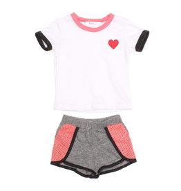 Joah Love Heart Tee & Shorts Set