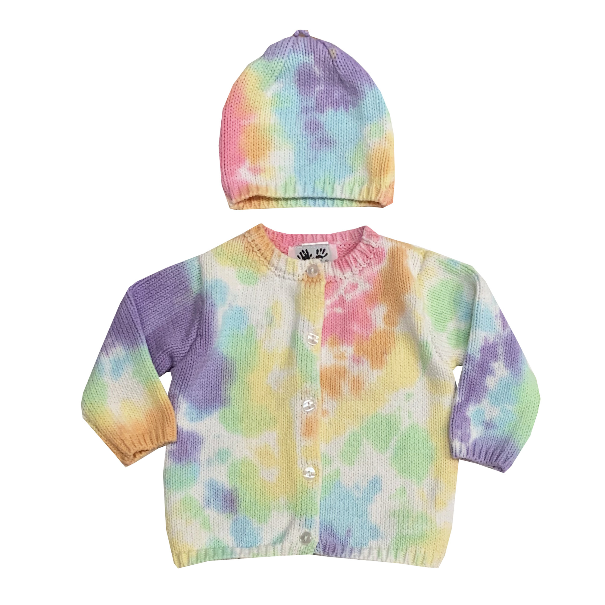 Fingerprints Pastel Tie Dye Knitted Sweater & Hat Set