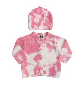Fingerprints Pink & White Tie Dye Knitted Sweater & Hat Set