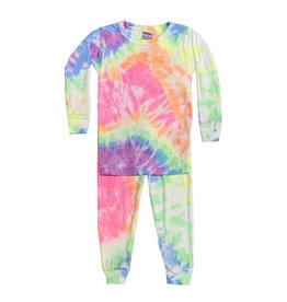 Baby Steps Neon Rainbow Tie Dye Pajama Set