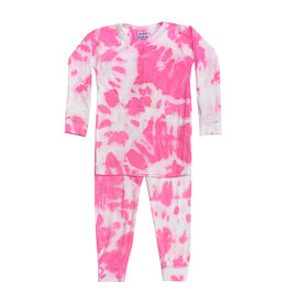 Baby Steps Neon Pink & White Tie Dye Infant Pajama Set