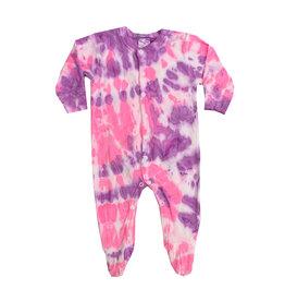 Baby Steps Neon Pink & Purple Tie Dye Footie