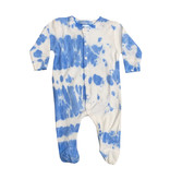 Baby Steps Bright Blue & White Tie Dye Footie