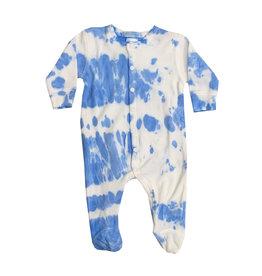 Baby Steps Bright Blue & White Tie Dye Footie