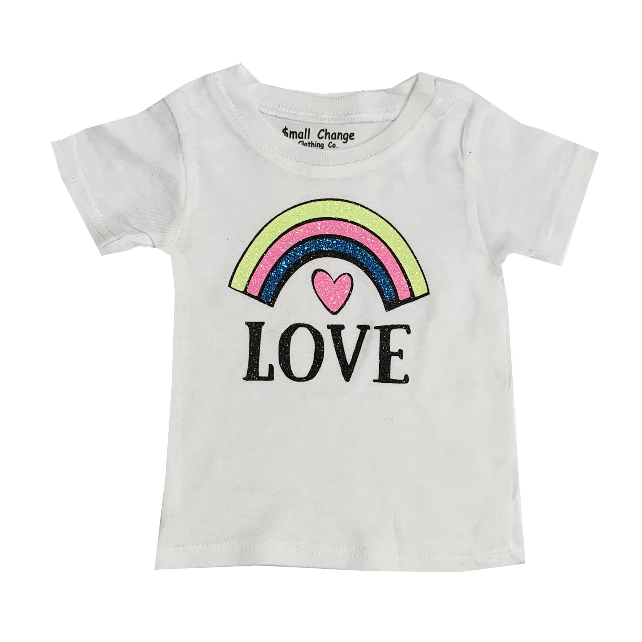 Small Change White Rainbow Heart Tee