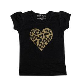 Small Change Gold Cheetah Heart Puffy Sleeve Tee