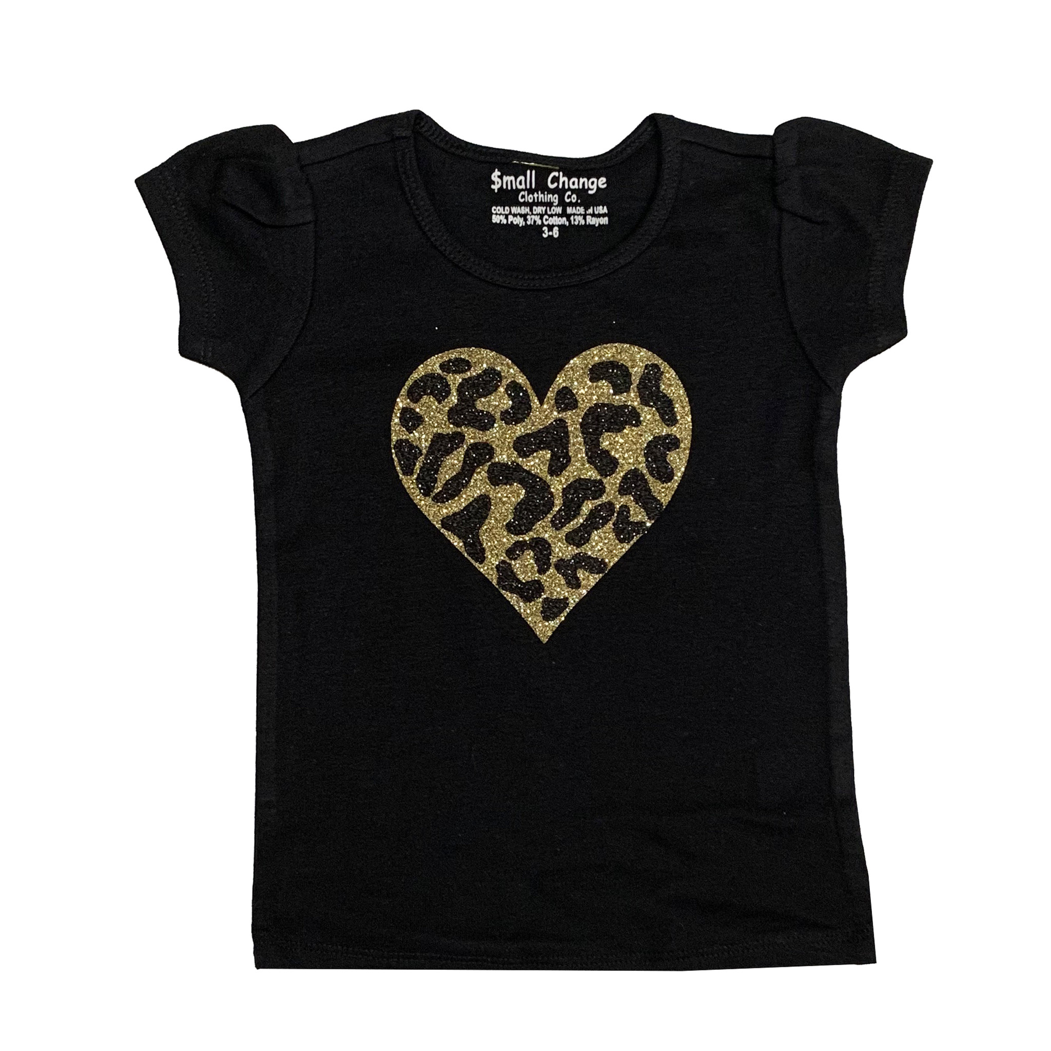 Small Change Gold Cheetah Heart Puffy Sleeve Tee