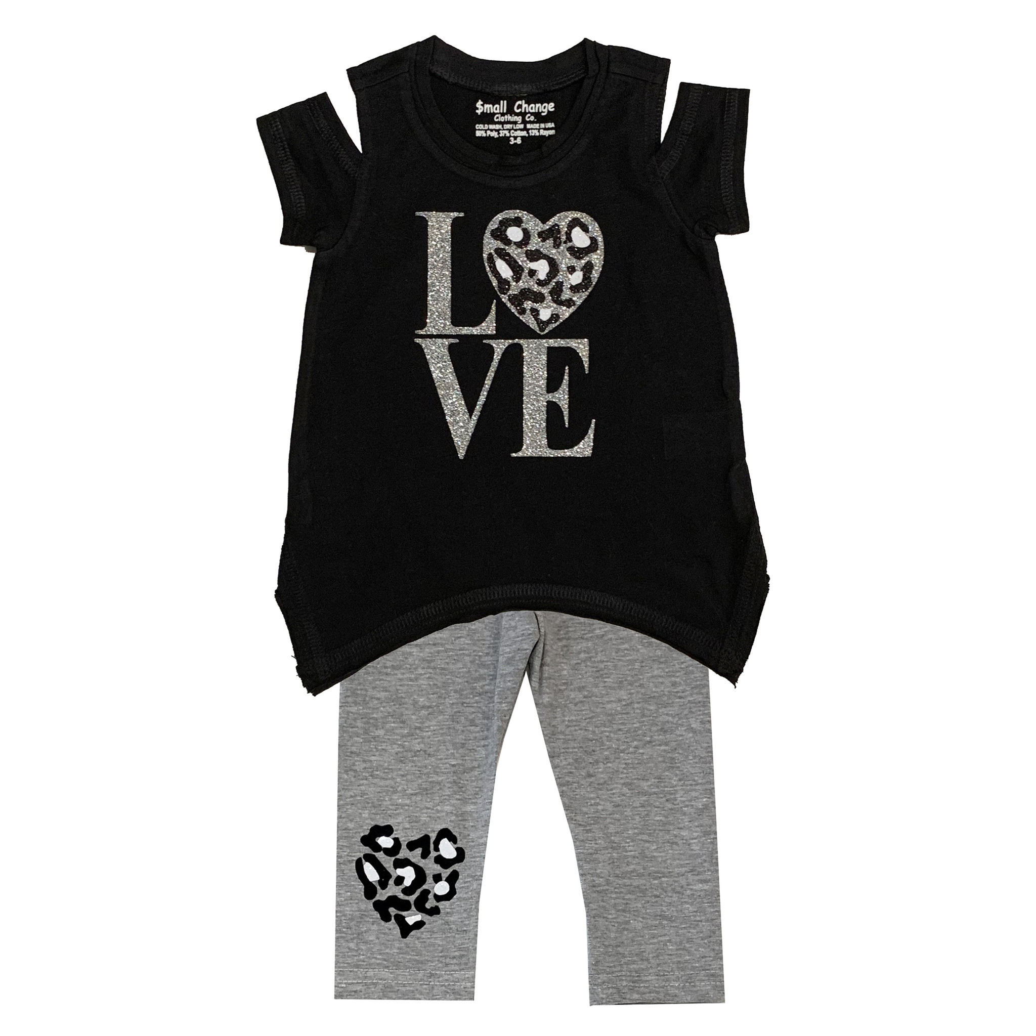 Small Change Silver Cheetah Heart Cold Shoulder Set