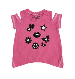 Small Change Hot Pink Icons Cold Shoulder Tee