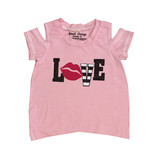 Small Change Pink Love Lips Cold Shoulder Tee