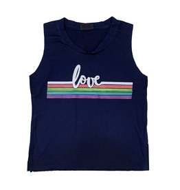 Firehouse Navy Love Stripe Tank