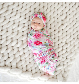 Posh Peanut Alice Floral Swaddle & Headband Set