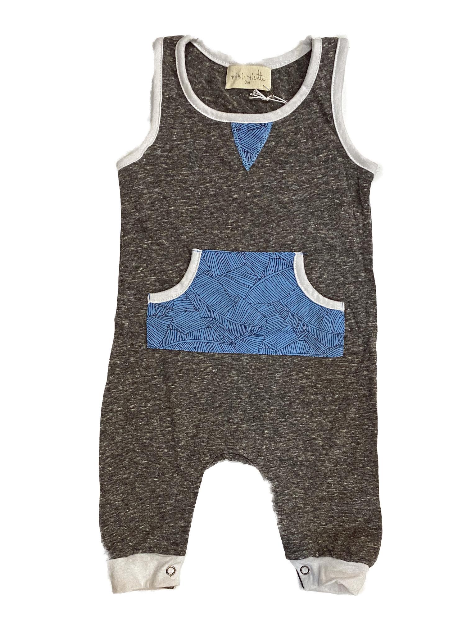 Miki Miette gray/blue pocket romper