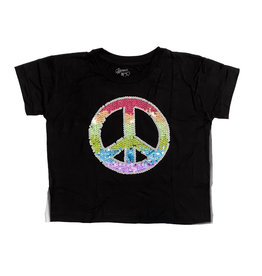 Flowers by Zoe Black Crop Sequin Peace Tee