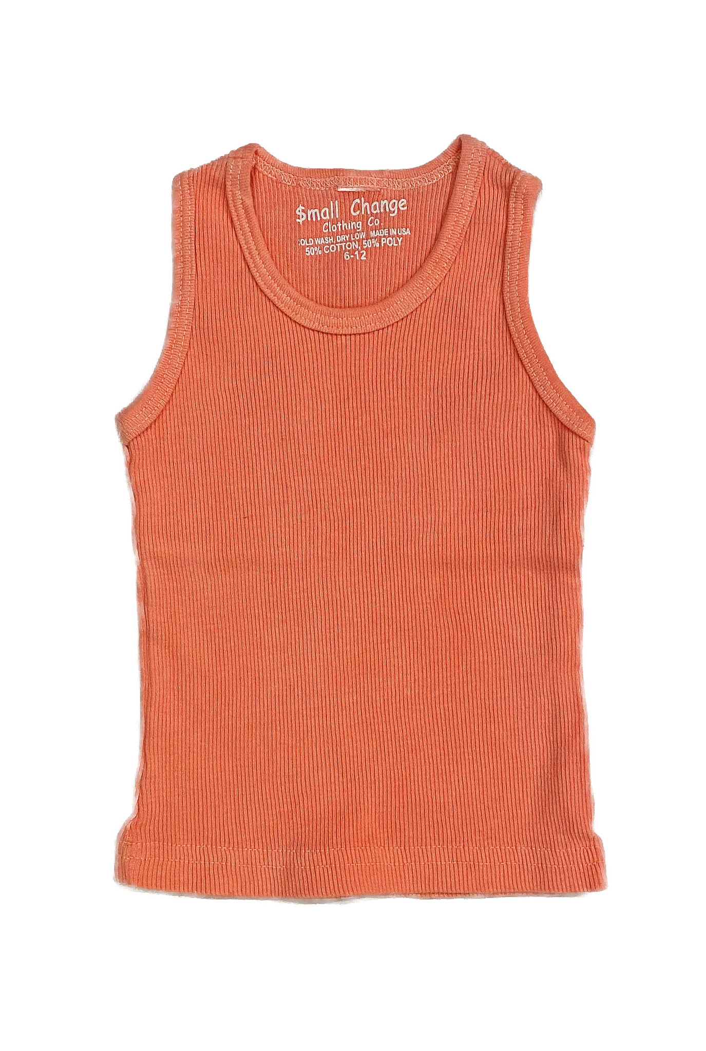 Small Change Neon Orange Ribbed Tank Top