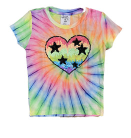 Flowers by Zoe Spiral Tie Dye Sequin Heart Tee