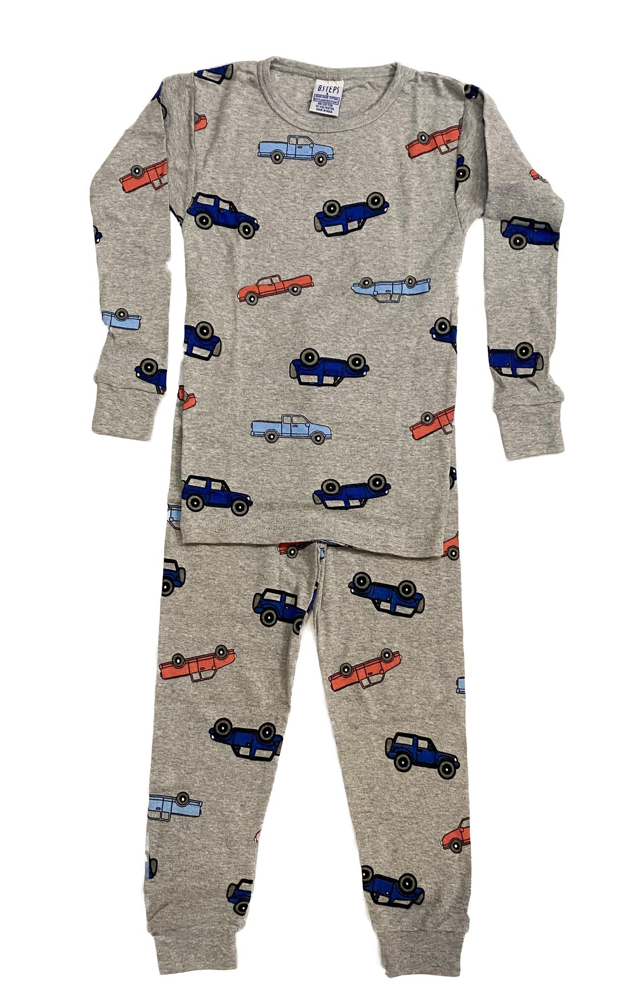 Baby Steps Grey Cars PJ Set